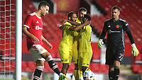 Bryan Mbeumo celebrates scoring Brentford's second goal during Manchester United vs Brentford, Friendly Match Football at Old Trafford on 28th July 2021