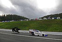 Jun. 18, 2011; Bristol, TN, USA: NHRA funny car driver Melanie Troxel during qualifying for the Thunder Valley Nationals at Bristol Dragway. Mandatory Credit: Mark J. Rebilas-