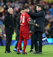Atletico Madrid manager Diego Simeone consoles Liverpool's Sadio Mane a the final whistle<br /> <br /> Photographer Rich Linley/CameraSport<br /> <br /> UEFA Champions League Round of 16 Second Leg - Liverpool v Atletico Madrid - Wednesday 11th March 2020 - Anfield - Liverpool<br />  <br /> World Copyright © 2020 CameraSport. All rights reserved. 43 Linden Ave. Countesthorpe. Leicester. England. LE8 5PG - Tel: +44 (0) 116 277 4147 - admin@camerasport.com - www.camerasport.com