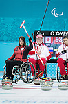Ina Forrest, Sochi 2014 - Wheelchair Curling // Curling en fauteuil roulant.<br /> Canada takes on Russia during round robin play // Le Canada affronte la Russie lors du tournoi à la ronde. 08/03/2014.