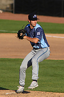 West Michigan Whitecaps pitcher Brendan White (29) delivers a pitch during a game against the Wisconsin Timber Rattlers on May 22, 2021 at Neuroscience Group Field at Fox Cities Stadium in Grand Chute, Wisconsin.  (Brad Krause/Four Seam Images)