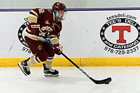 WORCESTER, MA - JANUARY 16: Olivia Finocchiaro #12 of Boston College brings the puck forward during a game between Boston College and Holy Cross at Hart Center Rink on January 16, 2021 in Worcester, Massachusetts.