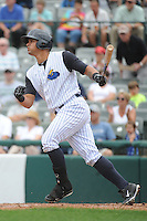 Trenton Thunder  catcher Gary Sanchez (35) during game against the Altoona Curve at ARM & HAMMER Park on August 6, 2014 in Trenton, NJ.  Trenton defeated Altoona 7-3.  (Tomasso DeRosa/Four Seam Images)