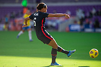 ORLANDO CITY, FL - FEBRUARY 21: Lynn Williams #6 of the USWNT passes the ball during a game between Brazil and USWNT at Exploria Stadium on February 21, 2021 in Orlando City, Florida.