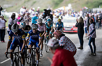 Julian Alaphilippe (FRA/Deceuninck - Quick-Step) 2 km from the finish in Val thorens<br /> <br /> shortened stage 20: Albertville to Val Thorens(59km in stead of the original 130km due to landslides/bad weather)<br /> 106th Tour de France 2019 (2.UWT)<br /> <br /> ©kramon