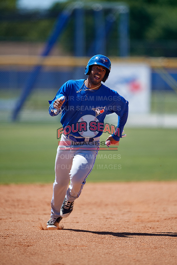 Toronto Blue Jays Joshua Palacios (76) during a Minor League Spring Training Intrasquad game on March 14, 2018 at Englebert Complex in Dunedin, Florida.  (Mike Janes/Four Seam Images)