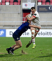 6 March 2021; Jacob Stockdale of Leinster is tackled by Jimmy O'Brien of Leinster during the Guinness PRO14 match between Ulster and Leinster at Kingspan Stadium in Belfast. Photo by John Dickson/Dicksondigital