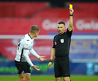 31st October 2020; Liberty Stadium, Swansea, Glamorgan, Wales; English Football League Championship Football, Swansea City versus Blackburn Rovers; Jake Bidwell of Swansea City receives a Yellow card from Referee Dean Whitestone in the 30th minute