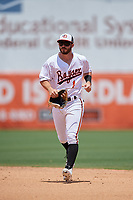 Bowie Baysox Ryan McKenna (1) jogs to the dugout during an Eastern League game against the Akron RubberDucks on May 30, 2019 at Prince George's Stadium in Bowie, Maryland.  Akron defeated Bowie 9-5.  (Mike Janes/Four Seam Images)