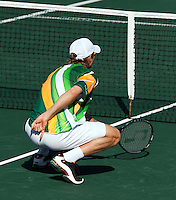 09-07-11, Tennis, South-Afrika, Potchefstroom, Daviscup South-Afrika vs Netherlands, Dubbel , Rik de Voest geeft dubbel signalen