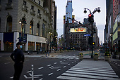 April 12, 2020<br /> New York, New York<br /> <br /> Herald Square is vacant at dusk during the height of the coronavirus pandemic. More than 10,000 deaths reported throughout the state.
