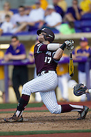 Texas A&M Aggies infielder Logan Taylor (17) follows through on his swing during the Southeastern Conference baseball game against the LSU Tigers on April 25, 2015 at Alex Box Stadium in Baton Rouge, Louisiana. Texas A&M defeated LSU 6-2. (Andrew Woolley/Four Seam Images)
