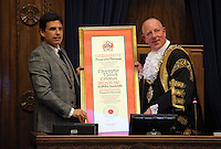 Pictured L-R: Chris Coleman receives from the Lord Mayor for Swansea Councillor David Hopkins the Freedom of the City honour Thursday 20 October 2016<br />