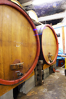 Domaine Pietri-Geraud Roussillon. Wooden fermentation and storage tanks. France. Europe.