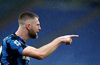 Football, Serie A: AS Roma -  FC Internazionale Milano, Olympic stadium, Rome, January 10, 2021. <br /> Inter's Milan Skriniar celebrates after scoring during the Italian Serie A football match between Roma and Inter at Rome's Olympic stadium, on January 10, 2021.  <br /> UPDATE IMAGES PRESS/Isabella Bonotto
