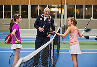 01-12-13,Netherlands, Almere,  National Tennis Center, Tennis, Winter Youth Circuit, Julie Belgraver(R) in discusion with het opponent Natasja Dragic, the umpire has to come in between <br /> Photo: Henk Koster