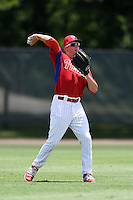GCL Phillies outfielder Venn Biter (27) throws the ball in during a game against the GCL Pirates on June 26, 2014 at the Carpenter Complex in Clearwater, Florida.  GCL Phillies defeated the GCL Pirates 6-2.  (Mike Janes/Four Seam Images)