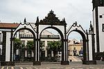 The town gates or Portas de Cidade in Ponta Delgada, Sao Miguel, Portugal, the target island in the Azores.