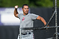 Elizabethton Twins pitching coach Luis Ramirez (19) throws batting practice prior to the game against the Danville Braves at American Legion Post 325 Field on July 1, 2017 in Danville, Virginia.  The Twins defeated the Braves 7-4.  (Brian Westerholt/Four Seam Images)