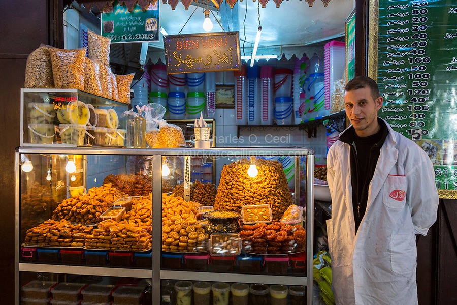 Fes, Morocco.  Vendor of Pastries and Sweets in the Old City.