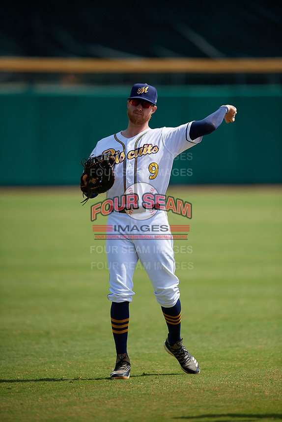 Montgomery Biscuits first baseman Dalton Kelly (9) during warmups before a Southern League game against the Mobile BayBears on May 2, 2019 at Riverwalk Stadium in Montgomery, Alabama.  Mobile defeated Montgomery 3-1.  (Mike Janes/Four Seam Images)