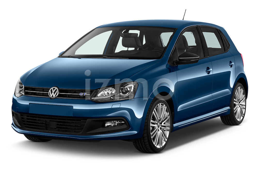 2016 Volkswagen Polo Blue-GT 5 Door Hatchback Angular Front stock photos of front three quarter view