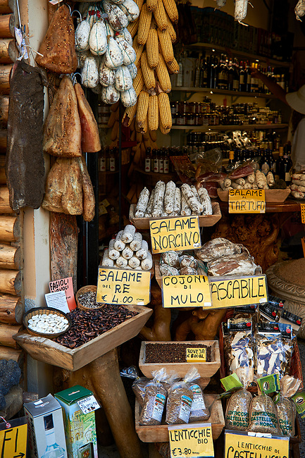 Traditional Norcineria shop selling Norcia salamis, Norcia, Umbria, Italy