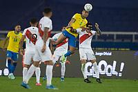 5th July 2021; Nilton Santos Stadium, Rio de Janeiro, Brazil; Copa America, Brazil versus Peru; Casemiro of Brazil wins the clearing header above Giuanluca Lapadula of Peru