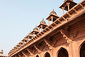 Fatehpur Sikri, Uttar Pradesh. The lost city of Fatehpur Sikri built by Emperor Akbar 16th Century, abandoned 12 years later because of a lack of water supply. Roof detail.