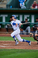 Connor Heady (9) of the Ogden Raptors bats against the Great Falls Voyagers at Lindquist Field on September 14, 2017 in Ogden, Utah. The Raptors defeated the Voyagers 7-4 in Game One of the Pioneer League Championship. (Stephen Smith/Four Seam Images)