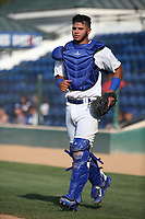 Keibert Ruiz (10) of the Rancho Cucamonga Quakes in the field during a game against the Stockton Ports at Loan Mart Field on July 16, 2017 in Rancho Cucamonga, California. Rancho Cucamonga defeated Stockton 9-1. (Larry Goren/Four Seam Images)
