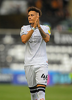 11th September 2021; Swansea.com Stadium, Swansea, Wales; EFL Championship football, Swansea versus Hull City; Rhys Williams of Swansea City applauds the fans on his first appearance for the club