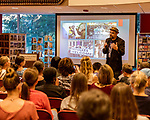 """July 26, 2017. Raleigh, North Carolina.<br /> <br /> Alan Gratz discussed some the current issues that inspired the stories in his new book """"Refugee"""".<br /> <br /> Author Alan Gratz spoke about and signed his new book """"Refugee"""" at Quail Ridge Books. The young adult fiction novel contrasts the stories of three refugees from different time periods, a Jewish boy in 1930's Germany , a Cuban girl in 1994 and a Syrian boy in 2015."""