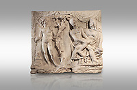 Roman relief sculpture of the Myth of Adonis. Roman 2nd century AD, Hierapolis Theatre.. Hierapolis Archaeology Museum, Turkey. Against a grey background