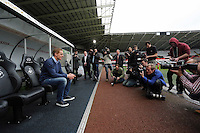 Thursday 06 February 2014<br /> Pictured: Head coach Garry Monk<br /> Re: The first Swansea City FC press conference with Garry Monk as head coach after the departure of Michael Laudrup, at the Liberty Stadium, south Wales.