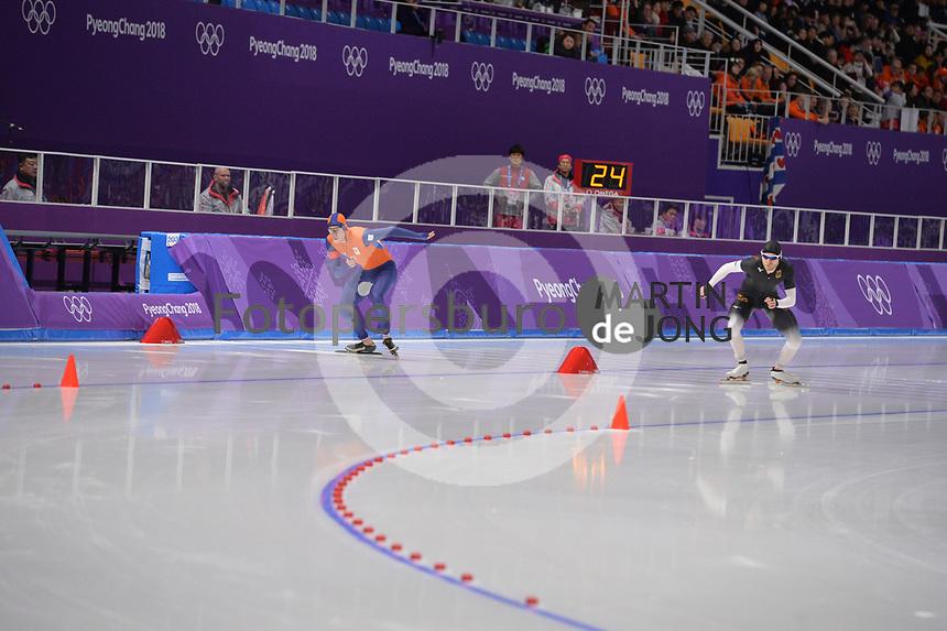OLYMPIC GAMES: PYEONGCHANG: 15-02-2018, Gangneung Oval, Long Track, 10.000m Men, Sven Kramer (NED), Patrick Beckert (GER), ©photo Martin de Jong