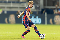 KANSAS CITY, KS - JULY 11: Jackson Yueill #14 of the United States passes the ball during a game between Haiti and USMNT at Children's Mercy Park on July 11, 2021 in Kansas City, Kansas.