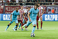 Harry Kane of Tottenham Hotspur scores with free kick the first goal of his team during the UEFA Champions League match between Olympiacos Fc and Tottenham Hotspur, in Karaiskaki Stadium in Piraeus, Greece. Wednesday 18 September 2019