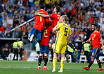 Spain's Mikel Oyarzabal, Spain's Alvaro Morata and Spain's Fabian Ruiz during the Qualifiers - Group B to Euro 2020 football match between Spain and Sweden on 10th June, 2019 in Madrid, Spain. (ALTERPHOTOS/Manu Reino)