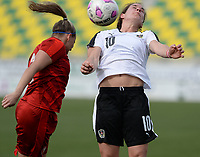 20180302 - LARNACA , CYPRUS : Austrian Nina Burger (r) pictured in a duel with Czech Aneta Dedinova (left) during a women's soccer game between Austria and Czech Republic , on friday 2 March 2018 at the AEK Arena in Larnaca , Cyprus . This is the second game in group B for Austria and Czech Republic during the Cyprus Womens Cup , a prestigious women soccer tournament as a preparation on the World Cup 2019 qualification duels. PHOTO SPORTPIX.BE | DAVID CATRY