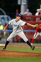 August 13, 2009:  Pitcher Dustin Crane of the Vermont Lake Monsters delivers a pitch during a game at Dwyer Stadium in Batavia, NY.  The Lake Monsters are the Short-Season Class-A affiliate of the Washington Nationals.  Photo By Mike Janes/Four Seam Images