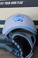 North Carolina Tar Heels hat before the NCAA baseball game on March 2nd, 2013 at Minute Maid Park in Houston, Texas. North Carolina defeated Cal 11-5. (Andrew Woolley/Four Seam Images).