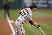 OAKLAND, CA - AUGUST 1:  Kelby Tomlinson #37 of the San Francisco Giants bats against the Oakland Athletics during the game at the Oakland Coliseum on Tuesday, August 1, 2017 in Oakland, California. (Photo by Brad Mangin)