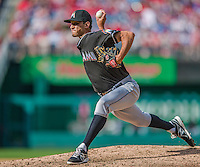 22 September 2013: Miami Marlins sidearm pitcher Steve Cishek on the mound against the Washington Nationals at Nationals Park in Washington, DC. The Marlins defeated the Nationals 4-2 in the first game of their day/night double-header. Mandatory Credit: Ed Wolfstein Photo *** RAW (NEF) Image File Available ***