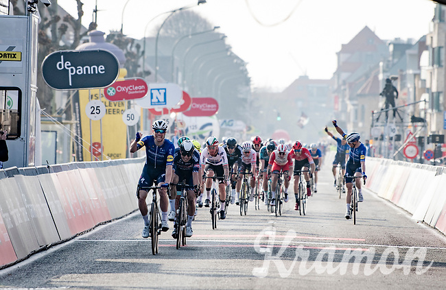 Sam Bennett (IRA/Deceuninck - Quick Step) wins the bunch sprint and the 45th Oxyclean Classic Brugge-De Panne 2021 (ME/1.UWT)<br /> <br /> 1 day race from Bruges to De Panne (204km)<br /> <br /> ©kramon