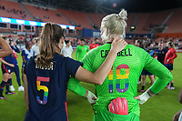HOUSTON, TX - JUNE 13: Kelley O'Hara #5 and Jane Campbell #18 of the United States celebrate during a game between Jamaica and USWNT at BBVA Stadium on June 13, 2021 in Houston, Texas.