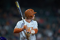 Brenden Dixon (1) of the Texas Longhorns at bat against the LSU Tigers in game three of the 2020 Shriners Hospitals for Children College Classic at Minute Maid Park on February 28, 2020 in Houston, Texas. The Tigers defeated the Longhorns 4-3. (Brian Westerholt/Four Seam Images)