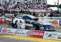 Sept 9, 2012; Clermont, IN, USA: NHRA funny car driver Matt Hagan during the US Nationals at Lucas Oil Raceway. Mandatory Credit: Mark J. Rebilas-
