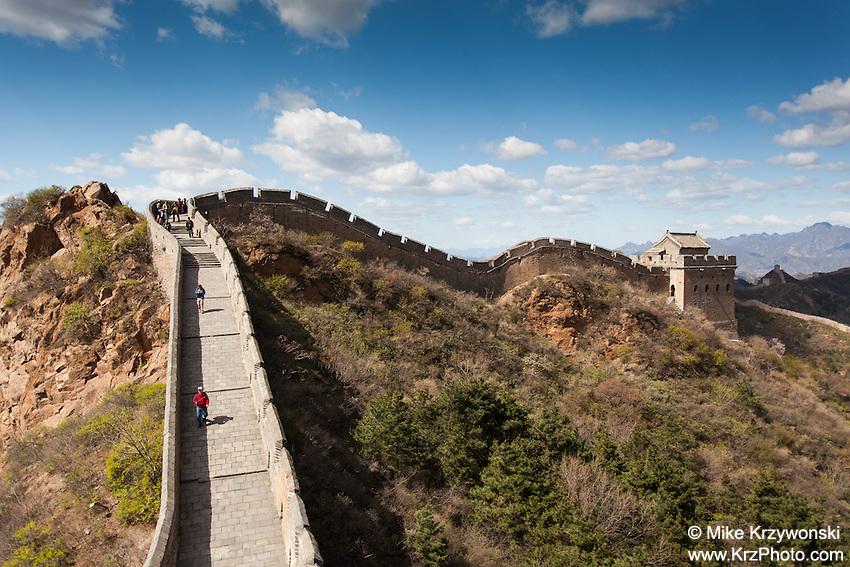 Visitors hiking the Great Wall of China, Jinshanling Section, Beijing
