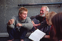 Saint Petersburg, Russia, August 2002..Students & homeless in a Nevsky Prospect underpass. Fyodor Dostoyevsky,  chronicler of Russia's under class, would still recognise much in his native city. The streets he knew still teem with thieves, drunks, homeless & those on the fringes of society..